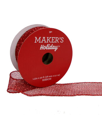 Maker's Holiday Christmas Mini Glitter Mesh Ribbon 1.5''x30'-Red
