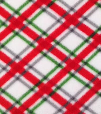 "Anti-Pill Fleece Fabric 59""-White Plaid"