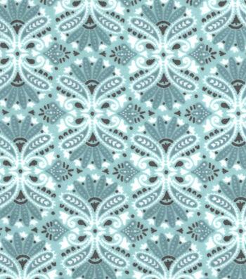 """3 Yard Pre-Cut Snuggle Flannel Fabric 42""""-Teal Damask"""