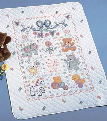 """Babies Are Precious Crib Cover Stamped Cross Stitch Kit-34""""X43"""""""