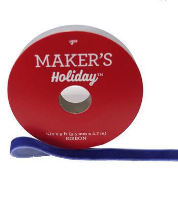 Maker's Holiday Christmas Velvet Ribbon 3/8''x9'-Navy