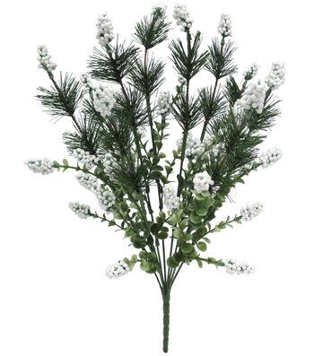 Blooming Holiday Christmas 19'' Eucalyptus, Pine & Berry Spray-White