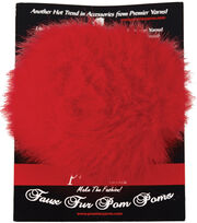 Faux Fur Pom Pom-Red, , hi-res