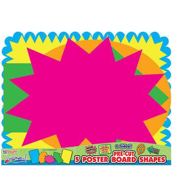 "Pre-Cut Posterboard Shapes 22""X28"" 5/Pkg-Bright Neon Colors"
