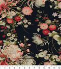 Asian Inspired Cotton Fabric 43\u0022-Floral Main Black Metallic