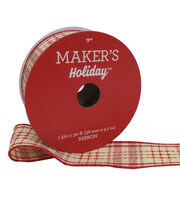 Maker's Holiday Christmas Ribbon 1.5''X30'-Red Stitch Plaid on Beige, , hi-res