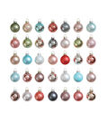 3R Studios Christmas 35 pk Round Boxed Glass Ornament-Pastel Multi-Color