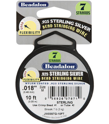 """Beadalon 7 Strand .018"""" Sterling Bead Stringing Wire-10ft/Silver"""
