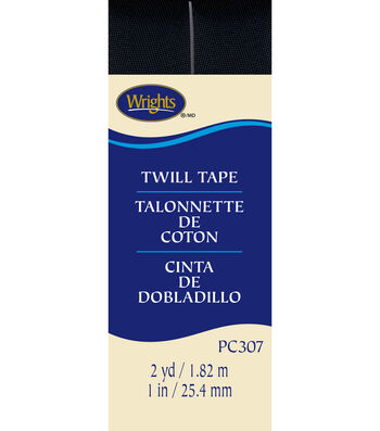 "Wrights Twill Tape-1"" x 2yds Black"