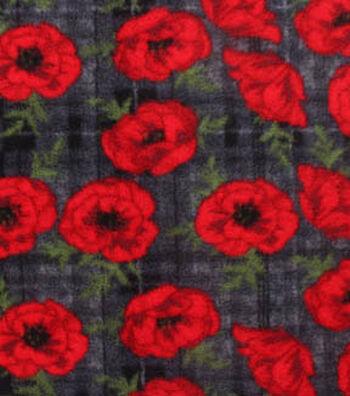 "3 Yard Pre-Cut Anti-Pill Fleece Fabric 59""-Red Poppies On Black Plaid"