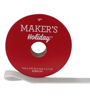 Maker's Holiday Christmas Velvet Ribbon 3/8''x9'-Silver