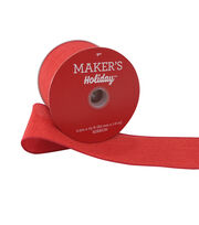 Maker's Holiday Christmas Burlap Ribbon 2.5''x25'-Red, , hi-res