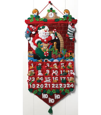 "Must Be Santa Advent Calendar Felt Applique Kit-13""x25"""