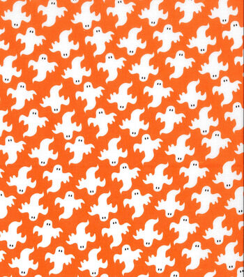Holiday Showcase™ Halloween Cotton Fabric 43''-Large Ghosts on Orange