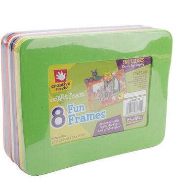 "Foam Frames 6.125""X8"" w/3.5""X5.5"" Opening 8/Pkg-Assorted Colors"