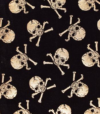 "The Witching Hour Halloween Velvet Fabric 58""-Metallic Skulls"