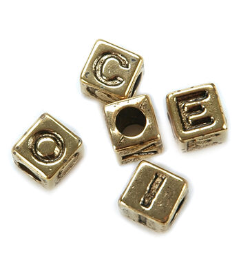 Darice Alphabet Beads 6mm 85/Pkg-Gold Plated