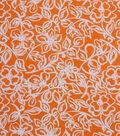 1930\u0027s Cotton Fabric 43\u0027\u0027-Floral Outlines on Orange