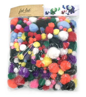 Giant 8oz. Bag of Pom Poms, Asst. Colors & Sizes