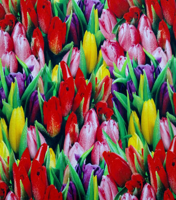 "Easter Cotton Fabric 44""-Photo Real Tulips"