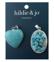 hildie & jo™ 2 Pack Silver Pendants-Turquoise Stone & Beads, , hi-res