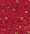 Christmas Cotton Fabric 43\u0022-Packed Poinsettias
