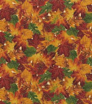 """Harvest Cotton Fabric 44""""-Packed Leaves Metallic"""