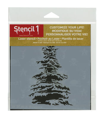 Stencil1 Customize Your Life! 5.75''x6'' Laser Stencil-Snowy Pine