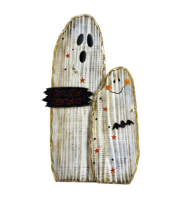 Maker's Halloween Wood Ghost Group Porch Sitter Sign-Ghostly Greetings