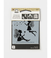 FolkArt 3 Pack 3''x3'' Stencils-Fairies & Mushrooms, , hi-res