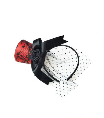 Maker's Halloween Red Top Hat Fascinator with Black Lace Net