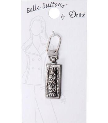 Dritz Belle Button Zipper Pull Rectangle Silver