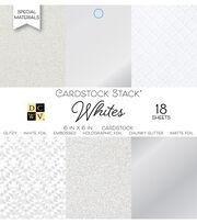 DCWV 18 Pack 6''x6'' Cardstock Stack-Whites, , hi-res