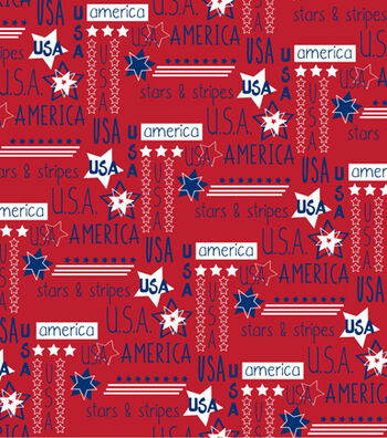 """Patriotic Cotton Fabric 44""""-Stars With Words"""