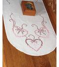 Fairway Stamped Perle Edge Dresser Scarf Three Hearts