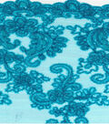 All That Glitters Fabric-Border & Tossed Embroidered Mesh Bright Blue