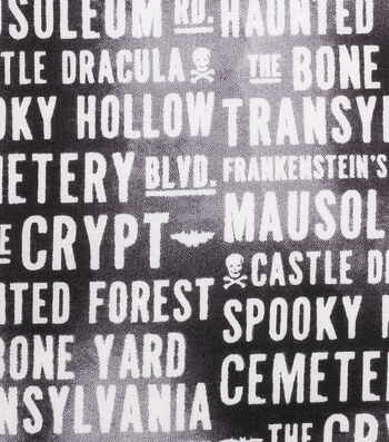 "Halloween Cotton Fabric 43""-Haunting Words"