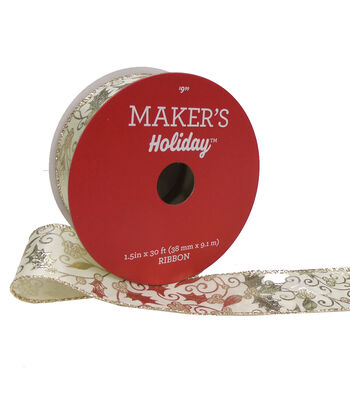 Maker's Holiday Christmas Ribbon 1.5''X30'-Gold Leaves on Ivory