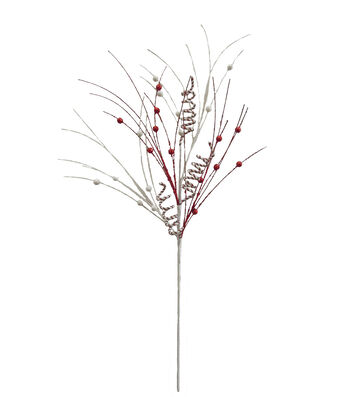 Blooming Holiday Christmas 30'' Whimsy Curly & Berry Spray-Red & White