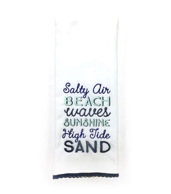 Seaport 16''x28'' French Terry Towel-Beach Words