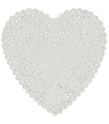 Royal Lace Paper Doilies White Hearts-6 Inch 18/Pkg