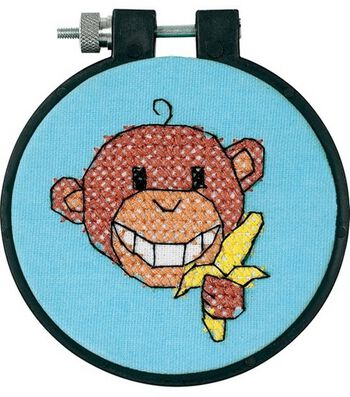 Dimensions Learn-A-Craft Stamped Cross Stitch Kit Monkey