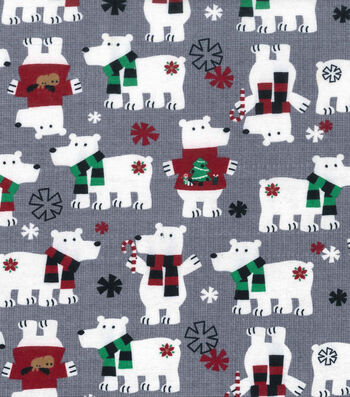 "Snuggle Flannel Fabric 42""-Polar Bears On Gray"