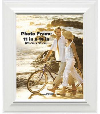 BP Industries Plastic Wall Photo Frame 11''x14''-Raised Bevel White