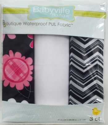 """Babyville PUL Fabric 3 pack 21"""" x 24""""-Floral & Chevron"""