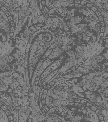 """Waverly Upholstery Fabric 55""""-Burnished Scroll/Charcoal"""