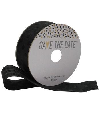 Save the Date 1.5'' X 15' Ribbon Black Polka Dot on Black