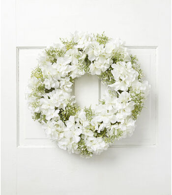 Fresh Picked Spring 21'' Hydrangea & Baby's Breath Wreath