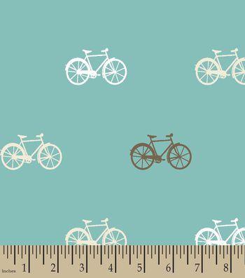Teal Bikes Print Fabric