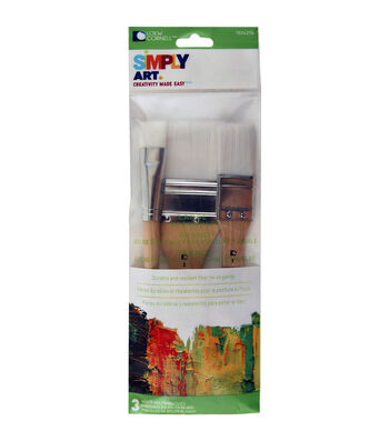 "Lowe Cornell Simply Art Large White Nylon Flat Brush Set 3/Pkg-3/4"", 1"" & 2"""
